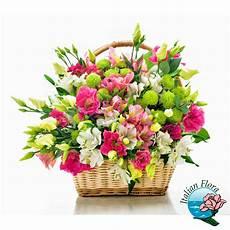 buket matrimonio cesto di fiori bianchi e rosa per fare gli auguri