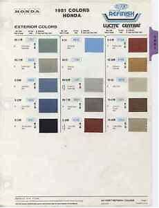 Honda Civic Color Code Chart 1981 81 Honda Accord Civic And Prelude Color Paint Chips