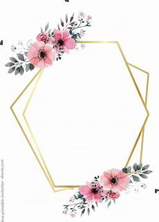 Printable Party Designs Free Printable Golden Floral Frame Invitation Templates