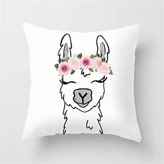 floral crown llama throw pillow by ktscanvases society6