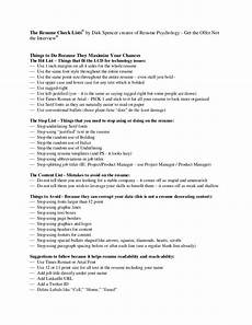 Characteristics For Resume The Resume Check List From Dirk Spencer