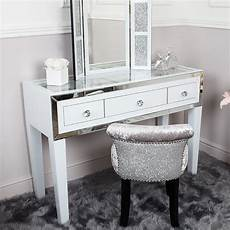 white glass mirrored trim clear top 3 drawer