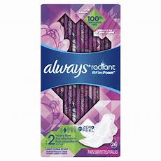 Always Light Pads Radiant Pads Size 2 Heavy Flow With Wings Scented Always 174