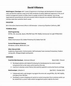 Wordpress Developer Resume Free 10 Sample Web Developer Resume Templates In Ms Word