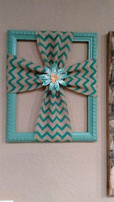 burlap cross made with a repurposed picture frame burlap