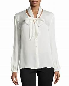 white silk sleeve blouse escada sleeve tie neck silk blouse in white lyst