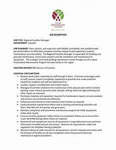 Operations Associate Job Description Job Description Job Title Regional Facilities Manager