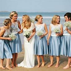 blue junior satin white lace short beach wedding