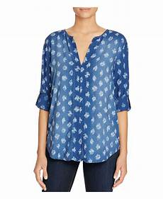 side stitch shirred roll sleeve chambray top in blue kaya