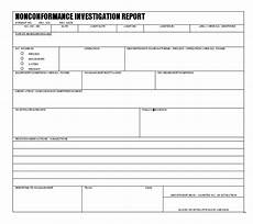 Non Compliance Report Sample Investigations Potential Non Conformance In Quality System