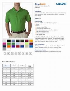 Gildan Unisex Size Chart Gildan 8800 6 Oz Dryblend Jersey Knit Sport Shirt 6 49
