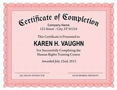 Certification Of Completion Template Formal Certificate Of Completion Template