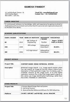 Attractive Resume Format For Freshers Mechanical Engineer Resume For Fresher Resume Formats