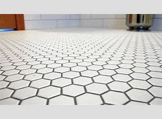 White hexagon 1 inch tiles with pewter grout in 2019   White mosaic tiles, Honeycomb tile