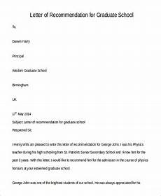 Graduate School Letter Of Recommendation Free 8 Sample Recommendation Letters For Graduate School