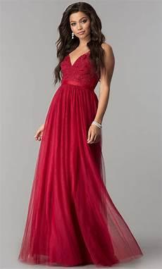 lace applique tulle v neck prom dress promgirl