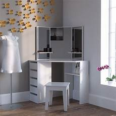 modern corner dressing table unit vanity mirror white