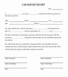 template receipt for sale of car car deposit receipt car agreement receipt template