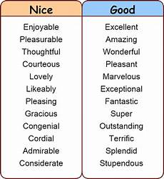 Good Another Word Click On Synonyms For Quot Nice Quot Quot Good Quot Quot Bad Quot Amp Quot Sad Quot
