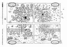 Vier Jahreszeiten Malvorlagen Als Pdf Durch Das Jahr Jahreszeiten Baum