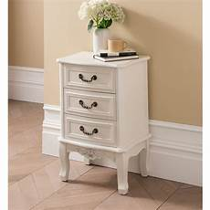etienne white 3 drawer antique style bedside table