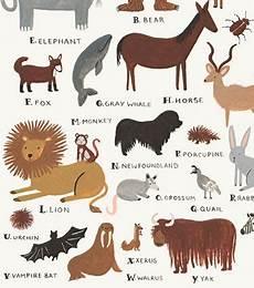 Rifle Paper Co Animal Alphabet Chart Animal Alphabet Chart Art Print 알파벳 포스터 어린이 데코 및 패턴 아트