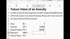 Future Value Of Future Value Of An Ordinary Annuity In Excel Youtube