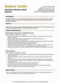 Resume For Forklift Operator Forklift Operator Resume Samples Qwikresume