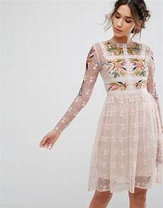 embroidery dress frock frill floral embroidered skater mini dress with