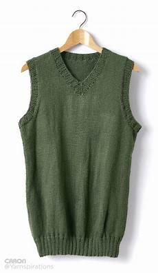 caron knit v neck vest knit pattern yarnspirations