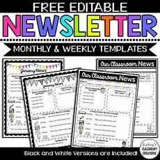 Editable Classroom Newsletter Editable Classroom Newsletter Templates Color Amp Black