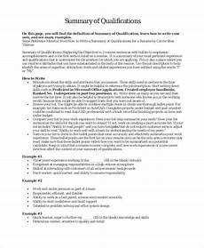 How To Write A Career Summary 9 Career Summary Examples Pdf Examples