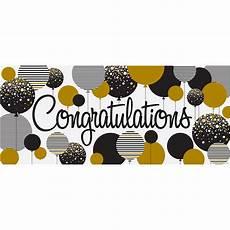 Congratulations Graduate Banner Quot Congratulations Quot Banner 5 X 2 25 Ft Gold And Black 1ct