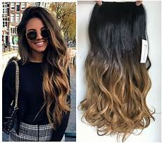 Dark Brown Hair Dip Dyed Light Brown Clip In Dip Dye Ombre Hair Extensions Synthetic Straight