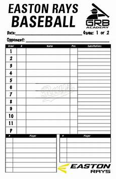 Baseball Lineup Card Pdf Items Similar To Baseball Team Lineup Card On Etsy