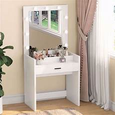 tribesigns vanity set with lighted mirror and cosmetic