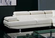 t60 white leather sectional sofa w adjustable headrests arm