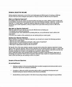 Objective For A General Resumes 18 Sample Resume Objectives Pdf Doc Free Amp Premium