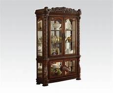 acme vendome curio cabinet in cherry finish 62023