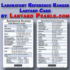 Lab Test Values Chart Pathology Lab Normal Reference Ranges Lanyard Reference