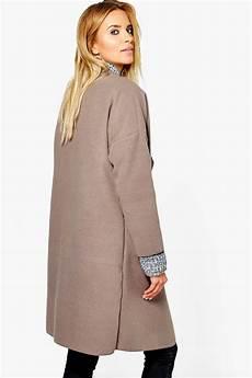 womens collarless coats boohoo womens collarless wool look coat ebay