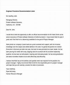 Letter Of Recommendation For Promotion 11 Promotion Recommendation Letters Free Sample
