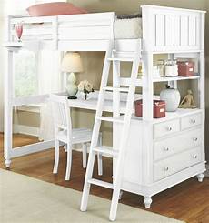 lake house white loft bed with desk from ne
