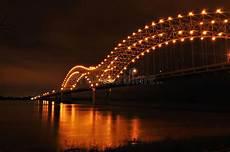 Hernando De Soto Bridge Lights Mississippi River And Hernando De Soto Bridge Stock Image