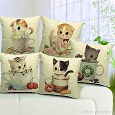 5 styles lovely cats cushion covers cat bucks coffee mug