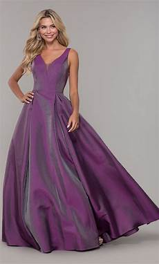 v neck purple prom dress by dave and johnny