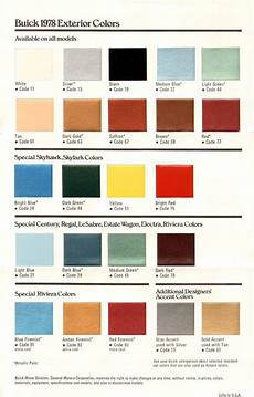 Exterior Color Chart 1978 Buick Exterior Colors Chart