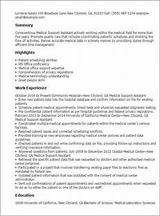 Medical Support Assistant Duties 1 Medical Support Assistant Resume Templates Try Them