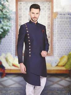 shop designer silk plain navy indo western online from