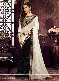 Black Georgette Designer Saree Black And White Georgette Designer Saree